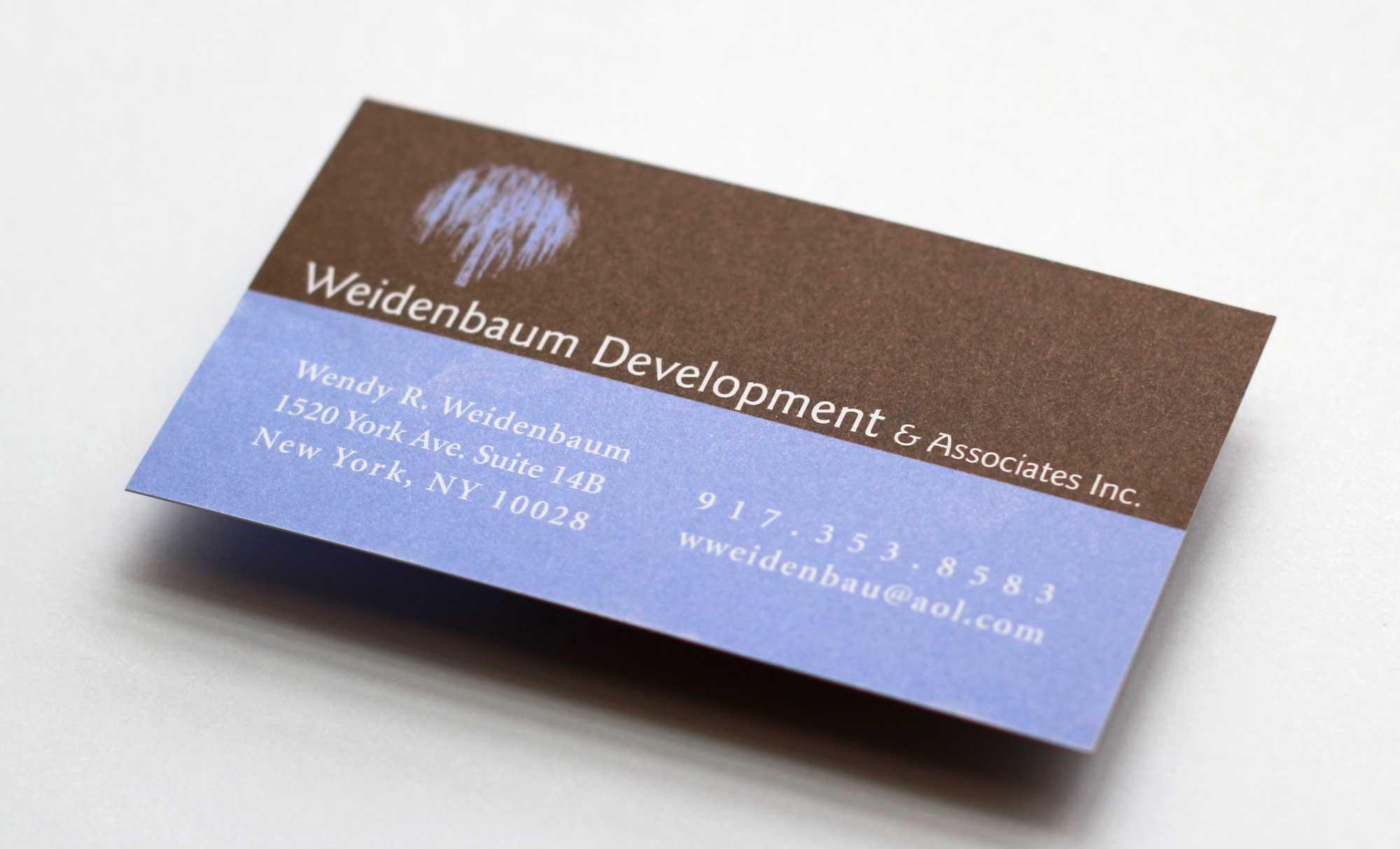 Weidenbaum Development business card design