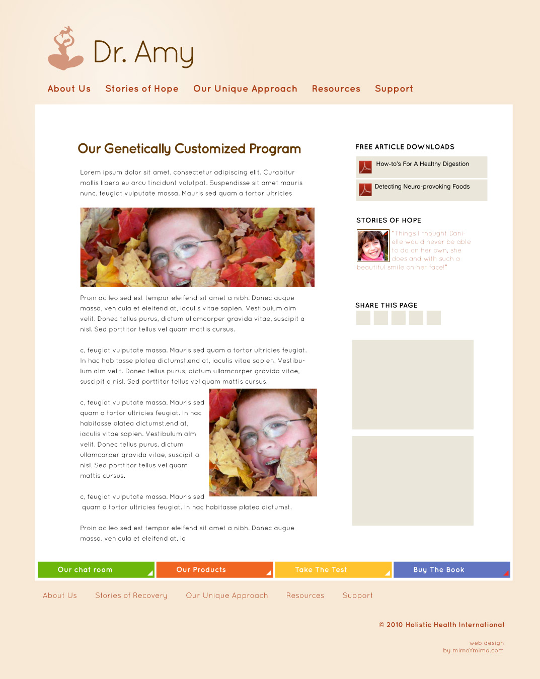 Dr. Amy Yasko - Website Design - blog page