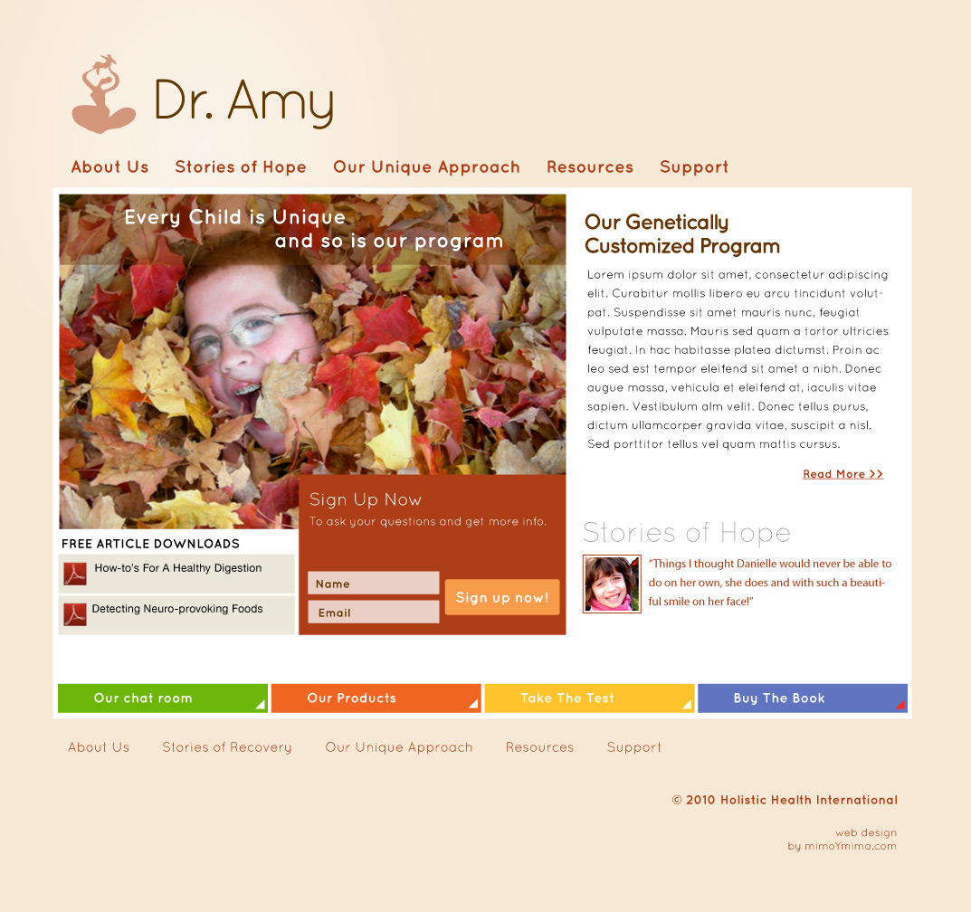 Dr. Amy Yasko - Website Design - homepage