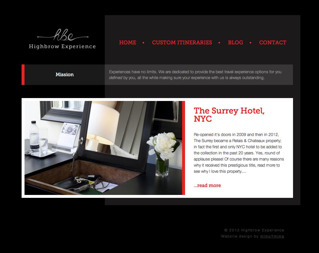 Highbrow Experience Website Design by mimoYmima.com