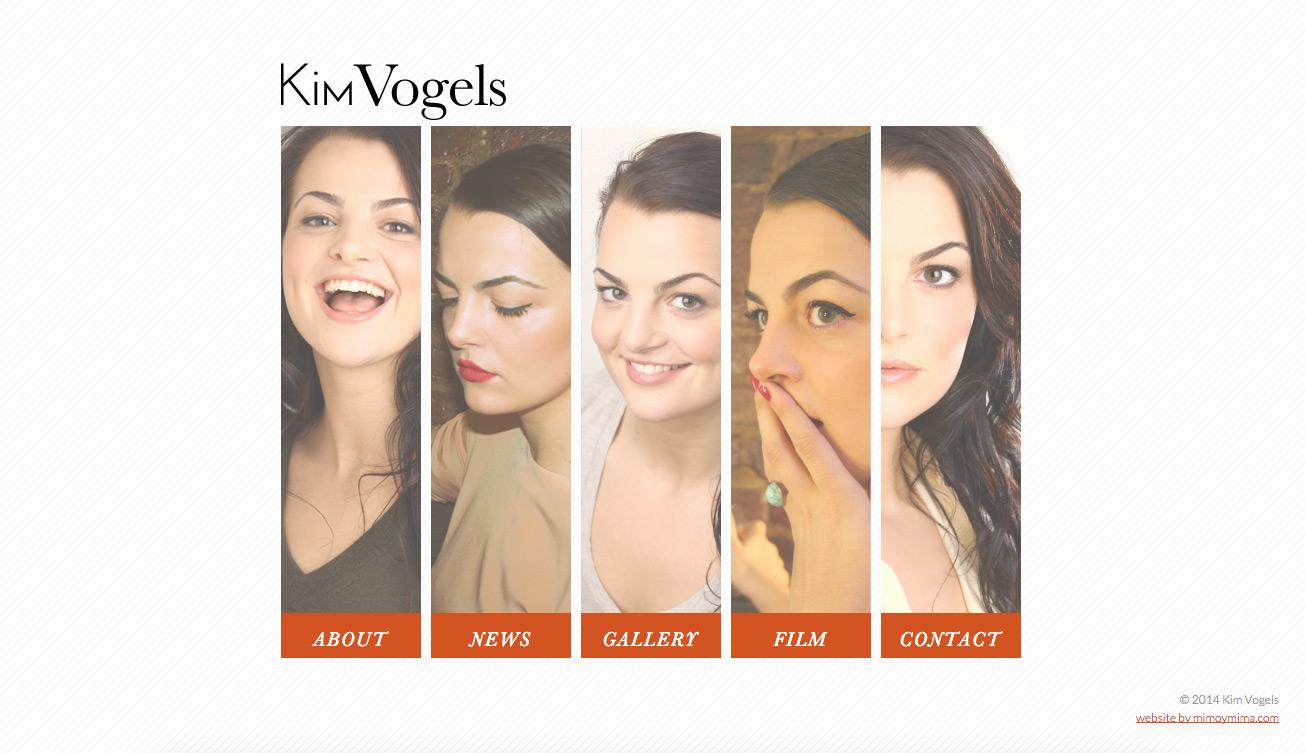Kim Vogels website design - home page