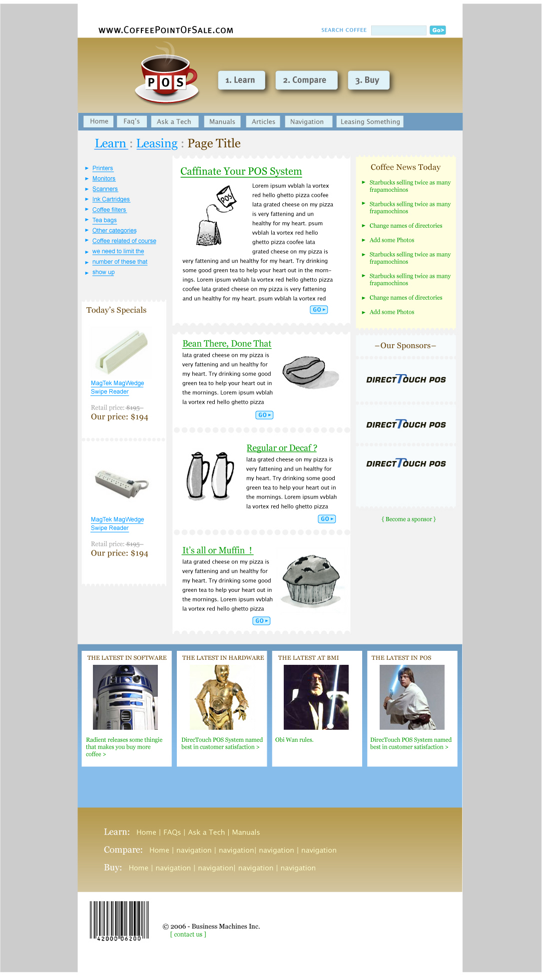 coffee point of sale website design